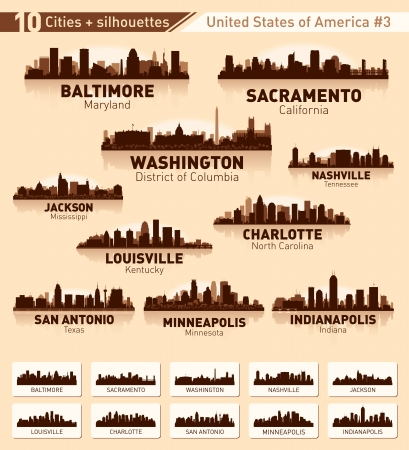 Skyline city set. 10 cities of USA  Vector