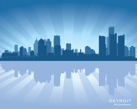 Detroit, Michigan skyline illustration with reflection in water
