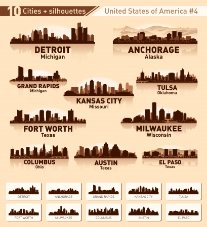 Skyline city set. 10 cities of USA #4 Stock Vector - 15966978