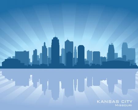 reflectie water: Kansas City, Missouri skyline met reflectie in het water