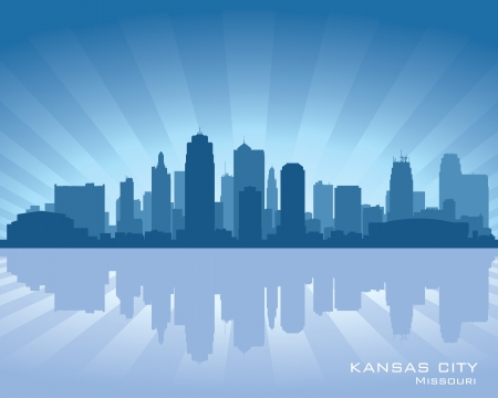 Kansas city, Missouri skyline with reflection in water Vector