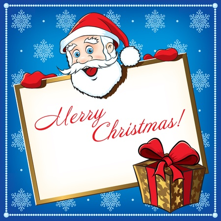 Christmas Santa Claus with gift. Greeting card Vector