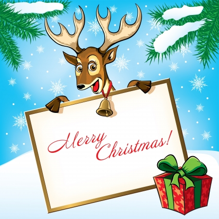 Christmas Deer with the gift. Greeting card.  Vector