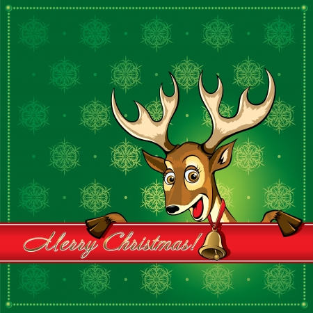 Christmas Deer. Greeting card. Vector