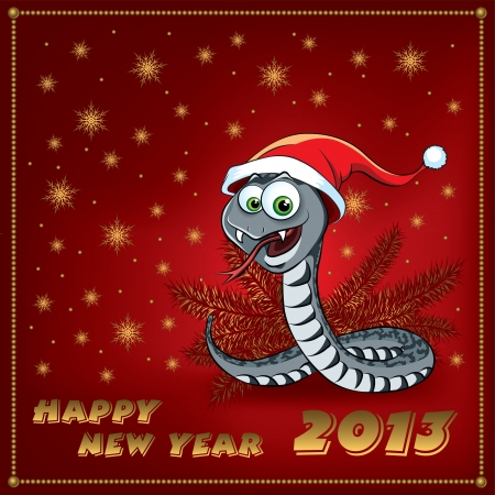 year of the snake: New Year Snake. Greeting Card.