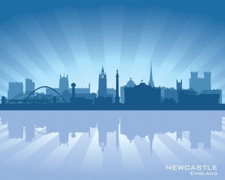 Newcastle, England skyline with reflection in water Vector