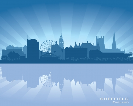 Sheffield, England skyline with reflection in water Stock Vector - 16563237