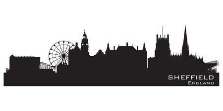 Sheffield, England skyline. Detailed  silhouette Vector