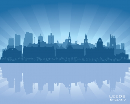 leeds: Leeds, England skyline with reflection in water Illustration