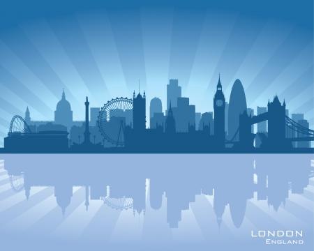 london: Londen, Engeland skyline met reflectie in het water