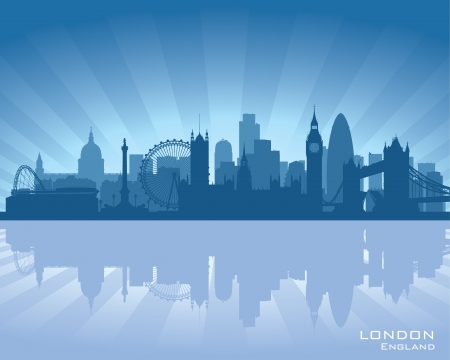 london skyline: London, England skyline with reflection in water Illustration