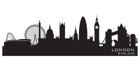 panoramic view: London, England skyline. Detailed silhouette. Illustration