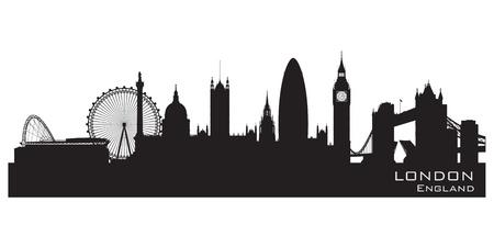 brytanii: Londyn, Anglia skyline. Szczegółowa sylwetka.