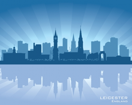 Leicester, England skyline with reflection in water Stock Vector - 16721050