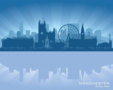 waterfront: Manchester, England skyline with reflection in water Illustration
