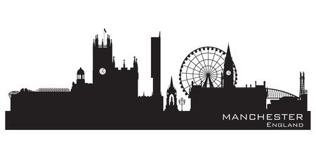 silhouette maison: Manchester, en Angleterre horizon. Silhouette détaillée.