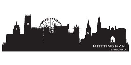 Nottingham, England skyline. Detailed silhouette.  Vector