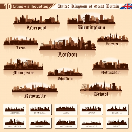 liverpool: City skyline set. Great Britain. Vector silhouette illustration. Illustration