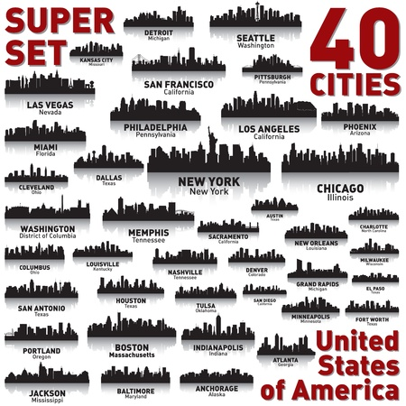 Incredible city skyline set. 40 city silhouettes of United States of America Illustration