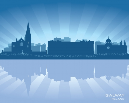 Galway, Ireland skyline with reflection in water Stock Vector - 16899742