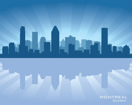 Montreal, Canada skyline with reflection in water Vector