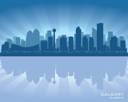 sky scrapers: Calgary, Canada skyline with reflection in water Illustration