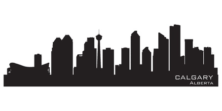 alberta: Calgary, Canada skyline. Detailed silhouette. Vector illustration