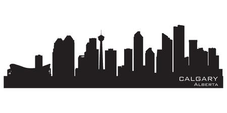 alberta: Calgary, Canada skyline. Detailed silhouette. Vector illustration