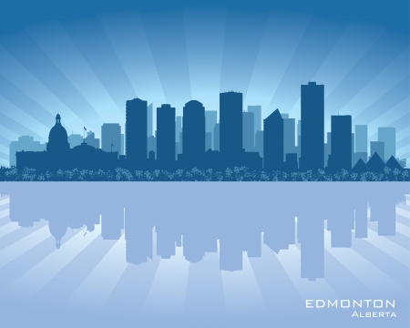 alberta: Edmonton, Canada skyline with reflection in water