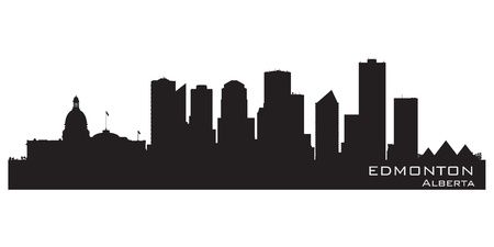 edmonton: Edmonton, Canada skyline. Detailed silhouette. Vector illustration