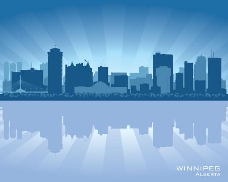 winnipeg: Winnipeg, Canada skyline with reflection in water