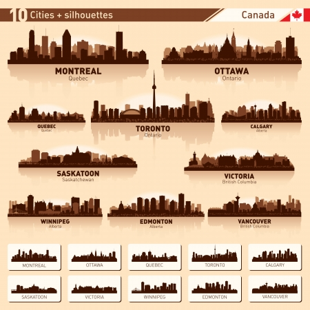 quebec: City skyline set  Canada  Vector silhouette illustration