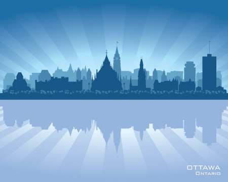 Ottawa, Canada skyline with reflection in water Vector