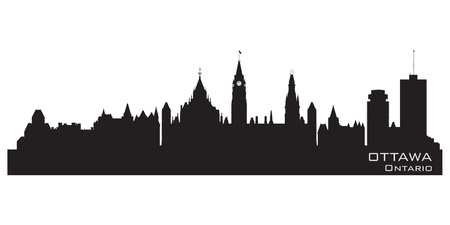 ontario: Ottawa, Canada skyline  Detailed silhouette  Vector illustration Illustration