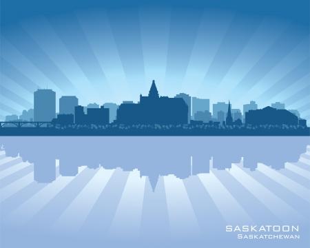 Saskatoon, Canada skyline with reflection in water Stock Vector - 17060540