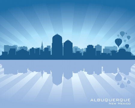 albuquerque: Albuquerque, New Mexico skyline with reflection in water Illustration