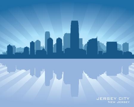 jersey city: Jersey City, New Jersey skyline silhouette.