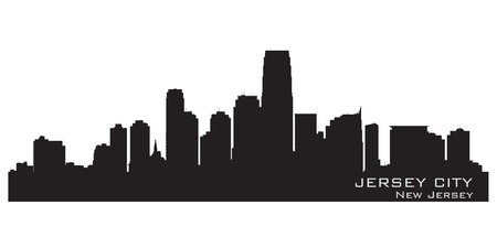 Jersey City, New Jersey skyline. Detailed silhouette.  Stock Vector - 17299412