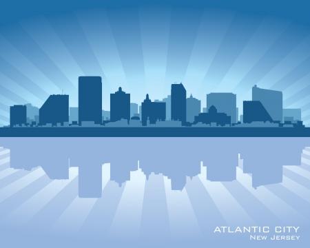 jersey city: Atlantic City, New Jersey skyline silhouette.  Illustration