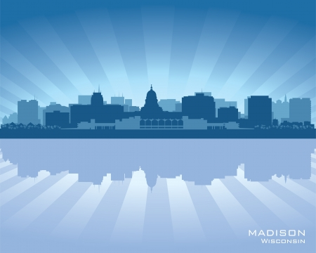 madison: Madison, Wisconsin skyline city silhouette