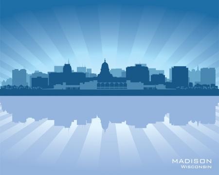 Madison, Wisconsin skyline city silhouette Stock Vector - 17597981