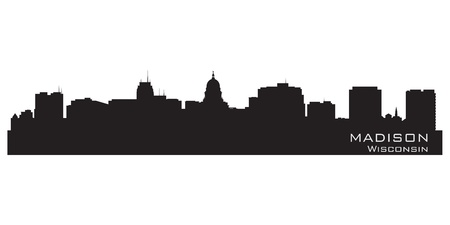 wisconsin state: Madison, Wisconsin skyline. Detailed city silhouette. Vector illustration