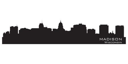 madison: Madison, Wisconsin skyline. Detailed city silhouette. Vector illustration