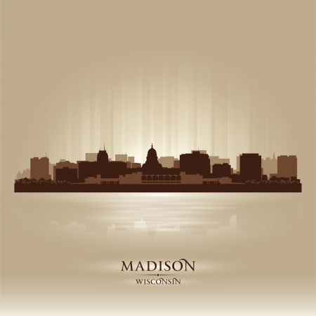 Madison, Wisconsin skyline city silhouette Vector
