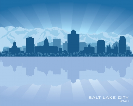 silhouette of a city: Salt Lake City, Utah skyline city silhouette Illustration