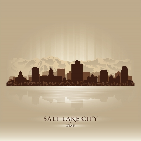 Salt Lake City, Utah skyline city silhouette Vector