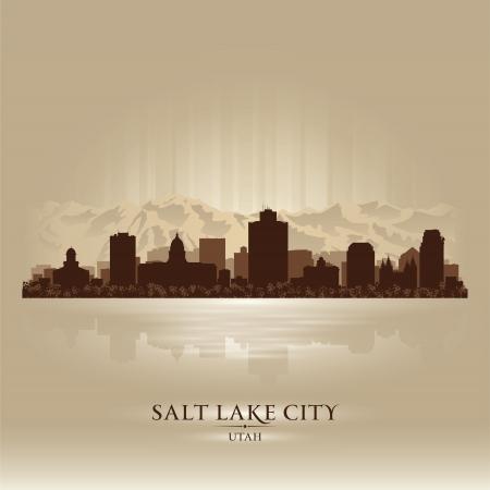 lake: Salt Lake City, Utah skyline city silhouette Illustration