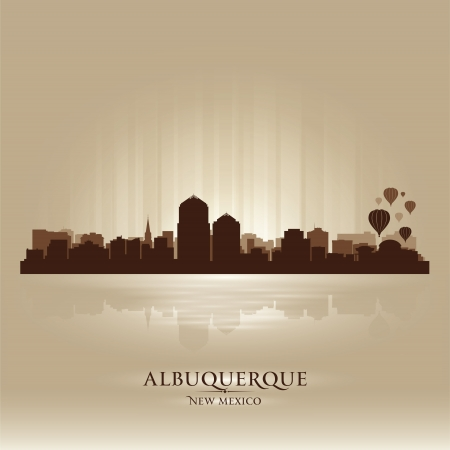 albuquerque: Albuquerque, New Mexico skyline city silhouette Illustration