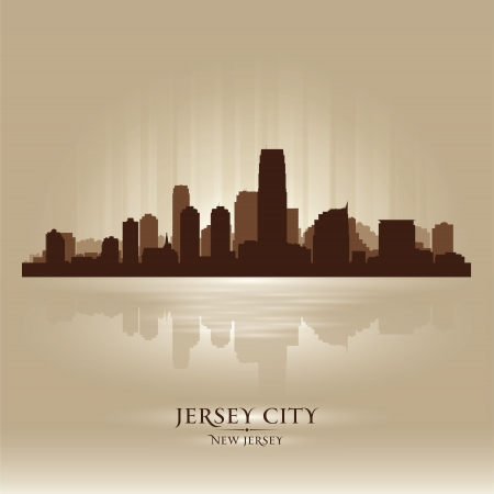 Jersey City, New Jersey skyline city silhouette Stock Vector - 17598675