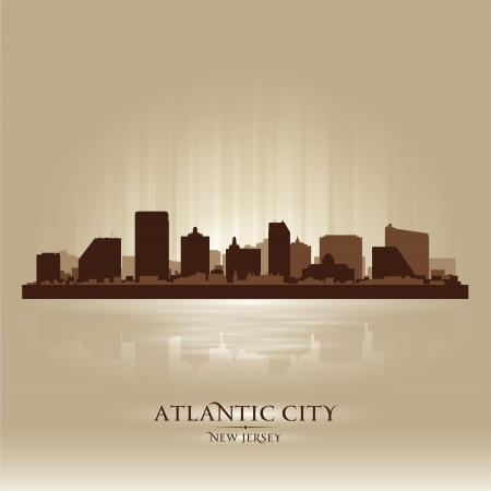 atlantic city: Atlantic City, New Jersey skyline city silhouette